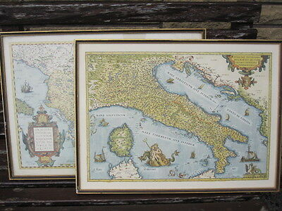 Pair Of Framed Maps By Jacobo Gastaldi - Italy & Greece 1560