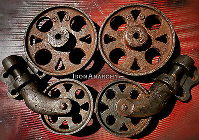 ANTIQUE FACTORY CART WHEELS, Old Vtg Cast Iron Industrial Lineberry Coffee Table