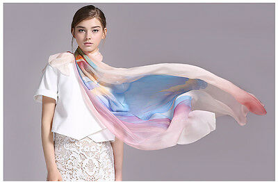 "Women 100% Mulberry Silk Long70""l44""w Scarf Shawl Oversized Ladies Soft"