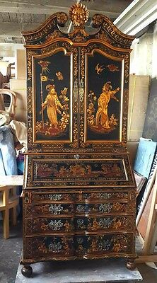 Antique reproduction crackle chinoiserie secretary bookcase in two tone colors