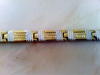 18K Yellow Gold Filled Stainless Steel Unisex Bracelet    Size 8""