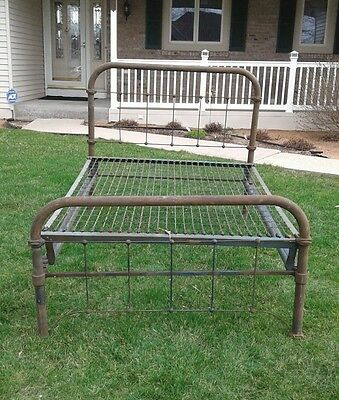 Antique Wrought Iron Full Size Bed Primitive