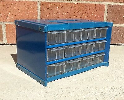 Vintage Blue Small Parts Cabinet 12 Drawer Organizer Hardware & Craft Storage