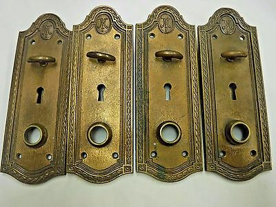 Antique Small Solid Brass Russwin Door Plates w/ Thumb Twist