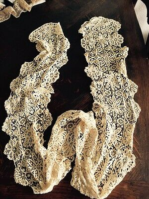 Antique Hand Made Lace Cotton Scarf