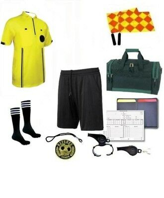 Referee Soccer Package Flag Whistles Duffel Bag Yellow Jersey short