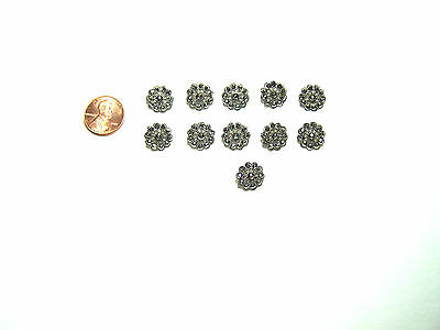 Antique Victorian Cut Steel Buttons Stamped Metal Sewing Craft Clothing Fashion