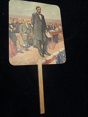 VERY EARLY Antique Abraham Lincoln GettysburG Advertising Paper Fan -DENTIST