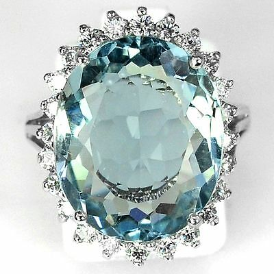Women Fashion Jewelry 925 Silver Huge Blue Topaz Engagement Party Ring Size 6