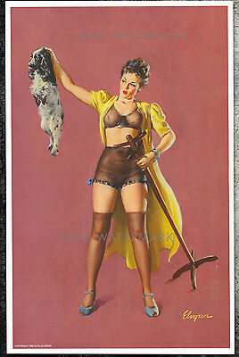 1940's Elvgren Authentic Pin-Up Poster Art Print Miss Placed Confidence 11x17