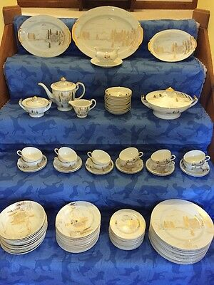 Kutani China, Vintage 95 Piece Dinner Set, Serving For 12, Gold Over White Porce