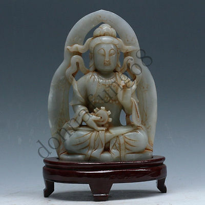 """Chinese Exquisite hand-carved """"Guanyin"""" carving Hetian jade statue"""