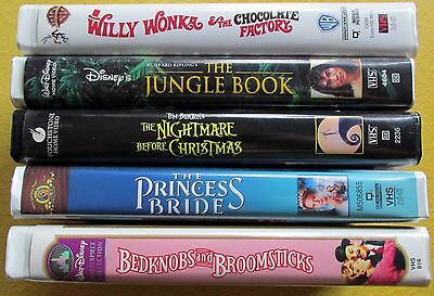 VHS Disney Clamshell Wonka Nightmare Christmas Jungle Princess Bride Bedknobs