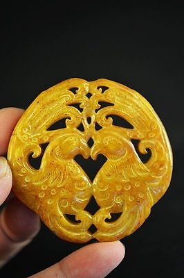 Exquisite old jade carved Two-sided 2 phoenixes lucky pendant  D2