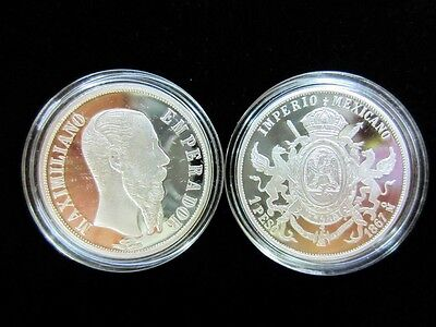 One Peso Maximilian Mexico Silver Medal Proof 1/10 oz- one tenth