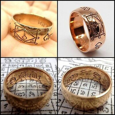 Occult Ring LP Kuay Yant Sacred Copper Thai Buddha Amulet Talisman Lucky Sz 9