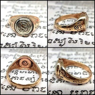 Sz10 NAMO Ring LP Thongsuk Copper Thai Buddha Amulet Wicca Talisman Magic Lucky