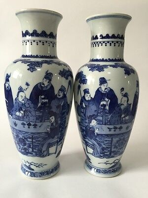 Pair Chinese Antique Blue White Porcelain Vase
