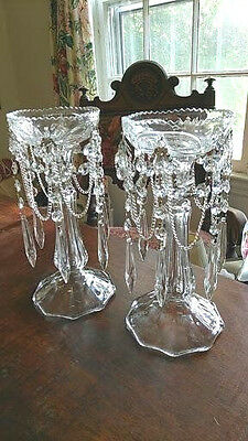 Pair Vintage Etched Victorian Style Crystal Candle Holders W/ Antique Prisms