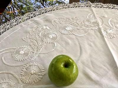 """Antique Chic FAB Embroidery Linen 40""""Rnd Tablecloth Topper Cluny Lace Flowers"""