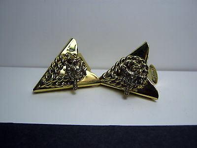 Vintage Western Collar Tips Gold Tone Saddle U.s. Patent By Rotondo