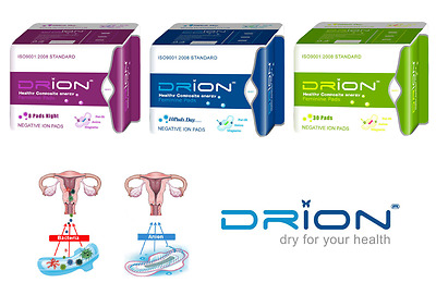 DRION Negative Ion Feminine Menstrual Pads DAY NIGHT & PANTILINERS 3 PACK Exp 20