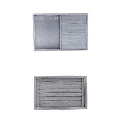 Gray Velvet Tray for Rings Cufflinks Earrings Necklace Jewelry Display Organizer