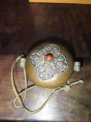 Chinese Antique Tibet Nepal Old Ming Bronze Buddha Coral Box China Asian