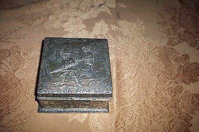 Vintage Japanese Multi Metal Trinket Box With Working Couple Vg Circa 1940's