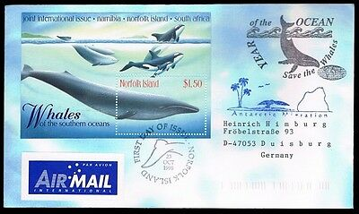 Antarctica • Norfolk Island • 1998 • Airmail to Germany • Whales of Southern