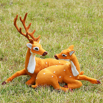 Realistic Deers Couple Home Desk Shelf Decor Figurine Toy Replica Bambi Fawns
