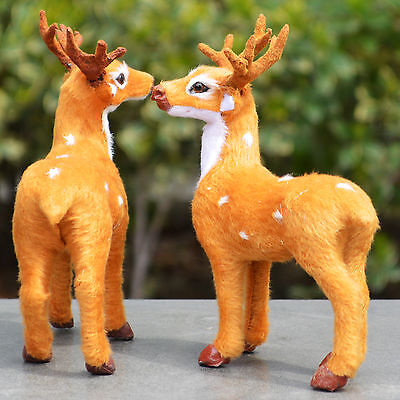 2 x 5.5'' Realistic Deers Home Desk Shelf Decor Figurine Toy Replica Bambi Fawns