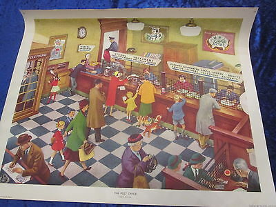 Vintage Original 1950's Educational Poster THE POST OFFICE Superb Graphics