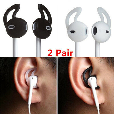 2Pair In Ear Rubber Soft Earbud Cover Skin w Hook for iPhone Earphone Headset AU