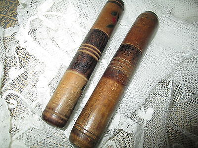 Antique lot off 2 hand turned needle case,from wood-1 are handpaind/France
