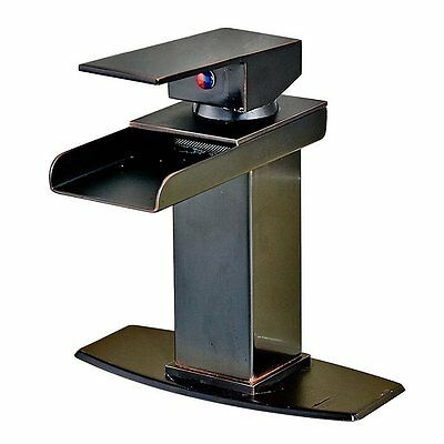 """Bathroom Basin Faucet Waterfall Spout Single Handle/Hole Mixer Tap W/6"""" Plate"""