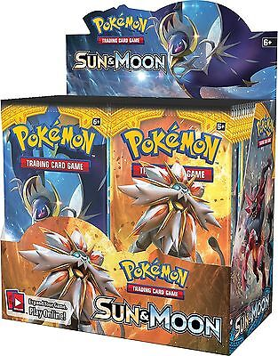 Pokemon TCG Sun and Moon Booster Box English Sealed 36 Packs Game Cards Toy