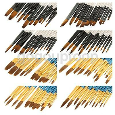 12pcs Paint Brush Set Flat Angled Filbert Round Brushes for Acrylic Oil Painting