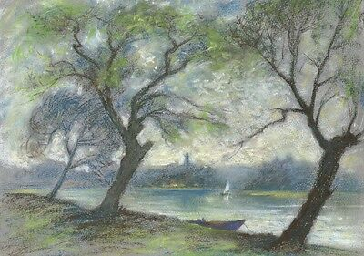 Riverside View with Boats - Original mid-20th-century pastel drawing