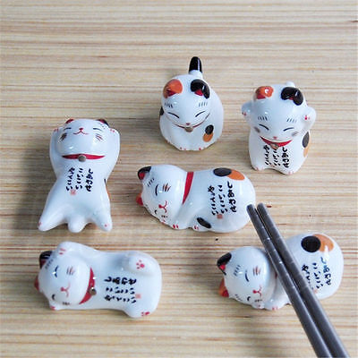 Cute Ceramic Lucky Cat Chopstick Stands Rest Rack Porcelain Maneki Neko Novelty