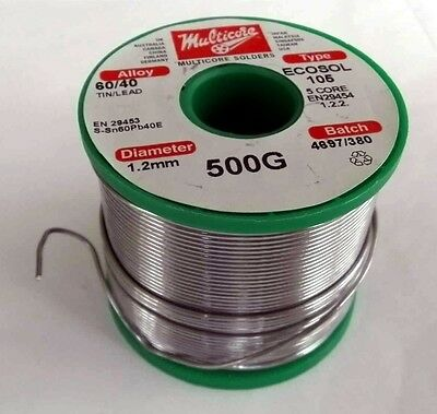 60/40 Tin/Lead Solder 5 core resin, 1.2mm diameter, 500gm.