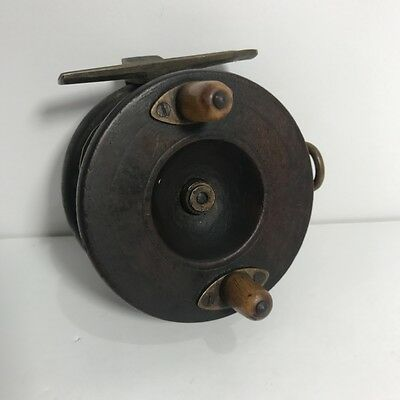 Vintage/Antique - Timber & Brass Fishing Reel -  EARLY ALVEY/TOWNSON? 7.5CM