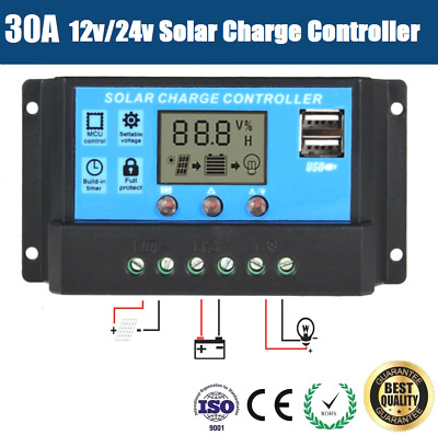 30A 12V/24V PWM Solar Panel Charge Regulator Battery Controller LCD Display USB