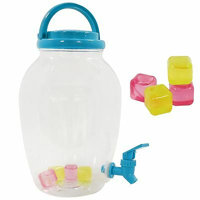 4.4L Plastic Drinks Dispenser Tap Juice Water Carrier Ice Cubes Party Camping