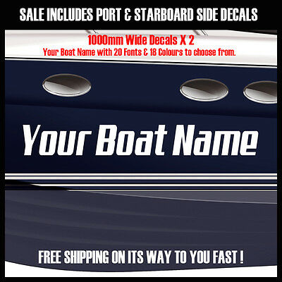 Custom Boat Name Decal Set - 2 x 1000mm (100cm) marine quality vinyl stickers