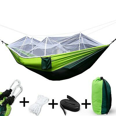 Camping Hammock with Mosquito Net2 Person Hammock Lightweight Parachute Trave...
