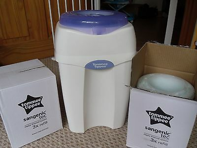 tommee tippee nappy bin with 6 brand new refill cassettes