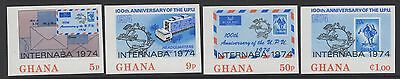 Ghana Sg710/3 1974 Internaba Stamp Exhibition Imperf Mnh
