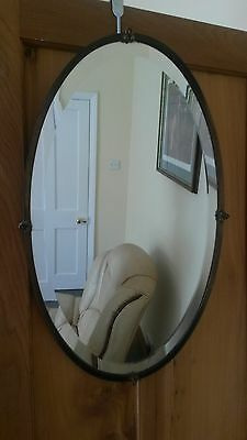 Large Antique Wall Mirror in Brass Frame