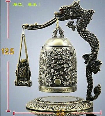 Exquisite Tibet Bronze Carved Dragon&buddha Bell